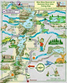Fishing Locations Map for Blue Mesa Reservoir & Gunnison Area - Colorado Estes Park Colorado, Aspen Colorado, Denver Colorado, Colorado Springs, Gunnison Colorado, Colorado Trip, Breckenridge Colorado, Gunnison National Park, Blue Nails