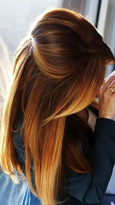 """Brown Copper Ombre: """"Whether you're formulating for apricot blondes, spicy reds, or dimensional brunettes, copper tones are the perfect partner for hair colors with a golden hue. This hair color trend is best suited for netural to warm complexions with gold, peach or yellow undertones."""""""