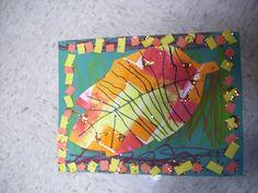 warm colors, leaf art, pattern: kindergarten