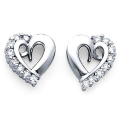 White Gold Diamond Heart Earring - See more stunning jewelry at StellarPieces.com!