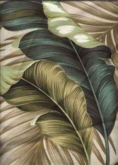 Banana Leaf Taupe Tropical Hawaiian banana leaf upholstery barkcloth fabric.
