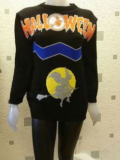 NEW BLACK HALLOWEEN WITCH ON BROOM STICK UNISEX JUMPER PARTY FANCY TOP M/L #GN #Jumpers