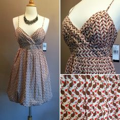 """100% cotton bubble style printed dress Fun flouncy sundress with a bubble skirt and ruched bust. Spaghetti straps and tie back waist. Back zip. New with tags!! 34""""L. 17"""" bust across laying flat. 16"""" empire waist with tie. Size 13. *Shrug pictured is also for sale in my closet, bundle and save 20%! B. wear too! Dresses Midi"""