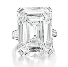 Huguette M. Clark's D color emerald-cut diamond ring of 19.86 carats by Cartier - circa 1920