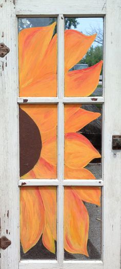 Sunflower Window Original Acrylic Painting on a by RusticMuse, $100.00
