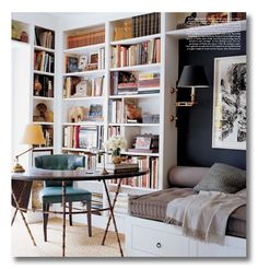 Lessons in Design :: Bookshelf Styling  Dark wall with white shelves