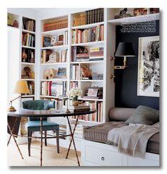 Lessons in Design :: Bookshelf Styling Dark wall with white shelves