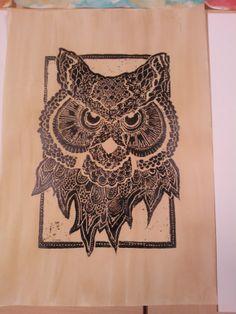 coffee stain owl print