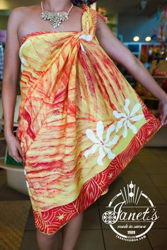 Janet's - Pacific Sarong/Lava Lava T22, 24.00 USD (http://www.janetssamoa.com/pacific-sarong-lava-lava-t22/)      Tiare Lava Lava Sarong Collection from Janet's     100% Hand Printed using Natural Dyes with no fade     100% Cotton– Soft Material and Vibrant Colours to allow for the best comfort     Dimensions: 2 Yards of material (110cm x 190cm x 0.1cm) Width, Height, Depth
