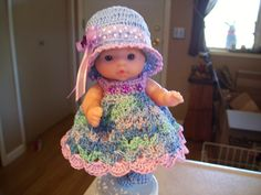 "Berenguer 5"" Baby Dolls - Blue/Lavender baby doll # 69  More can be seen on Pinterest under Jana Langley Berenguer 5"" Dolls with crocheted outfits"