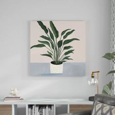 Wrought Studio 'Houseplant IV' Wrapped Canvas Painting on Canvas Size: H x W x D Cute Canvas Paintings, Easy Canvas Painting, Diy Canvas Art, Acrylic Canvas, Oil Painting Abstract, Easy Paintings, Diy Wall Art, Diy Painting, Tree Paintings