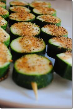 Grilled zucchini on a stick - that way they don't fall into the BBQ