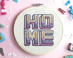 Home cross stitch pattern- Modern HOME , home sweet home cross stitch, beginner modern cross stitch sampler, easy cross stitch home decor,