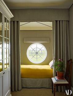 Ian Mankin ticking stripes a bedroom   archdigest.com