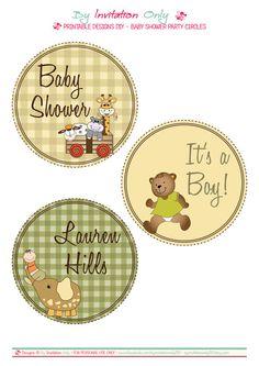 "Safari Baby Shower - 4"" Party Circles. Printables by ByInvitationOnlyDIY byinvitationonlydiy.etsy.com"