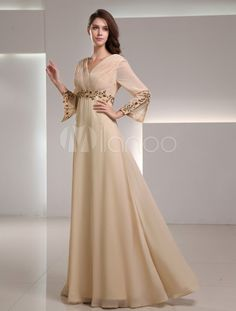 Elegant Champagne Chiffon Applique V-Neck Women's Evening Dress - Milanoo.com