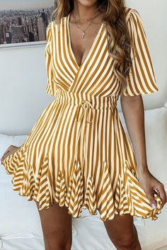 V Neck Striped Women Dress Vintage Ruffles Cotton Short Lace Up Summer Dress Casual Pleated ALine Dress Vestido Color Yellow Size M Casual Summer Dresses, Simple Dresses, Cute Dresses, Vintage Dresses, Short Dresses, Dresses For Work, Elegant Dresses, Dress Casual, Sexy Dresses