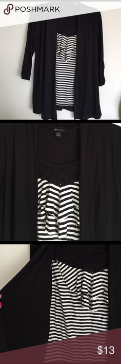 Striped top with cardigan Striped top with ruffles & tulle from scoop. Attatched to a black cardigan 3/4 sleeves. Partly gathered sleeves from bottom. Good condition. Tag says XS but it has a lot of stretch & fits a M AB Studio Tops