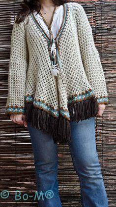 Bo-M: Cape Coat-no pattern Newborn Crochet Patterns, Crochet Cardigan Pattern, Crochet Blouse, Crochet Scarves, Crochet Shawl, Crochet Clothes, Knit Crochet, Crotchet Stitches, Hippie Crochet