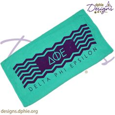 Delta Phi Epsilon Teal & Purple beach or pool towel!! Get yours today at DPhiE Designs!!