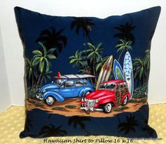 Vintage Looking Hawaiian Shirt to Pillow 16 x 16, VW , Surf Boards and Palm Trees, Machine Quilted Up-Cycled Shirt to Pillow