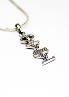 Phi Sigma Sigma Sterling Silver Lavaliere set with Lab-Created Diamonds
