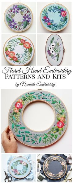 Hand embroidery patterns and kits featuring everyone's favorite subject: flowers!