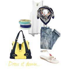 Dressed Down Hannah Pastel Collection - Yellow/Navy