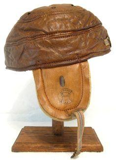 Circa 1905 Reach model 3 leather rain cap football helmet