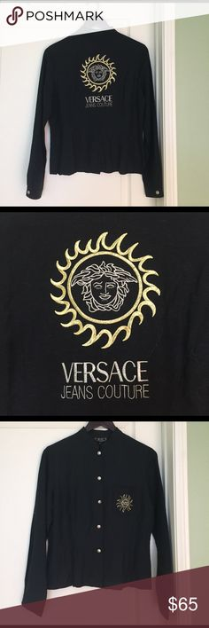 Vintage Versace button up, TAGS ON Great condition, beautiful vintage Versace, TAGS STILL ON. Embroidered detailing on the back, silver logo buttons and embroidery detail on front pocket. Versace Tops Button Down Shirts