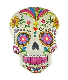 New Folk Art Painted White Day Of The Dead Sugar Skull Wall Hanging W LED Eyes