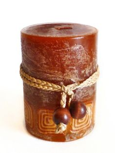 Beautiful Pillar Candle in Warm Earth Tones Decorative Home Accent | eBay