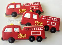 firetruck cookies | Dozen Fire Engine Red Firetuck Cookies by SugaredHeartsBakery