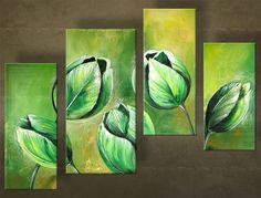 Ručně malovaný obraz KVĚTINY 4 dílný 4840FA