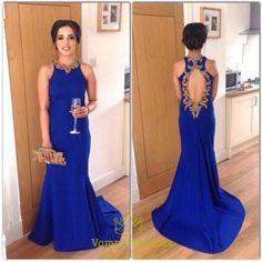 vampal.co.uk Offers High Quality Royal Blue Halter Neck Beaded Keyhole Back…