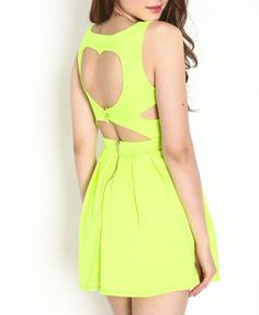 Yellow Pleating Cutout Dress