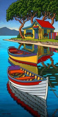 Contemporary Landscape Art of Canadian BC Hornby Island Artist Graham Herbert; Landscape Quilts, Landscape Art, Naive Art, Whimsical Art, Art Techniques, Art Pictures, Watercolor Art, Art Drawings, Art Projects
