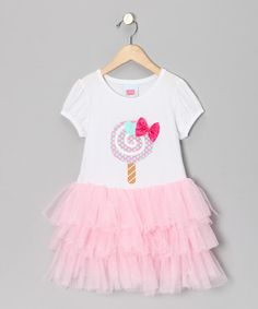 Take a look at this White & Pink Lollipop Ruffle Tee - Toddler & Girls by 2 Crystal Chicks on #zulily today!