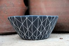 Black and White Ceramic Table Planter with by HalfLightHoney