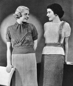 Styles For Fall Vintage Knitting Patterns Book - KarensVariety.com (monogrammed jumper is crocheted)