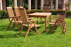 11 Pc Luxurious Grade-A Teak (Brown) Dining Set - 117 Rectangle Table And 10 Marley Reclining Arm Chairs Pool Patio Furniture, Outdoor Furniture Sets, 3 Piece Dining Set, Rectangle Table, Outdoor Chairs, Outdoor Decor, Bistro Set, Patio Dining, Teak Wood