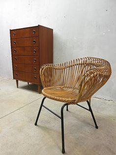 Rohe rotan lounge chair Franco Albini style, mid century vintage design rattan chair Franco Albini style www.bestwelhip.nl