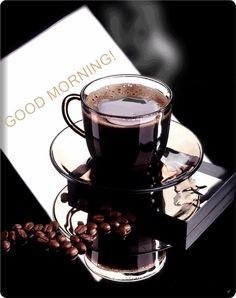Good Morning Coffee via agoodthinghappened I Love Coffee, Coffee Art, Black Coffee, My Coffee, Coffee Drinks, Coffee Shop, Coffee Cups, Tea Cups, Drinking Coffee