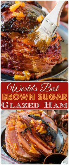 World's Best Brown Sugar Ham (+ Ham Glaze Recipe) - Oh Sweet Basil We've tried many a ham recipe, but this is probably the World's Best Brown Sugar Ham. The best part is, you can make it in the oven or slow cooker. Healthy Recipes, Pork Recipes, Cooking Recipes, Baked Ham Recipes, Chicken Recipes, Slow Cooker Ham Recipes, Crockpot Meat, Thanksgiving Recipes, Holiday Recipes