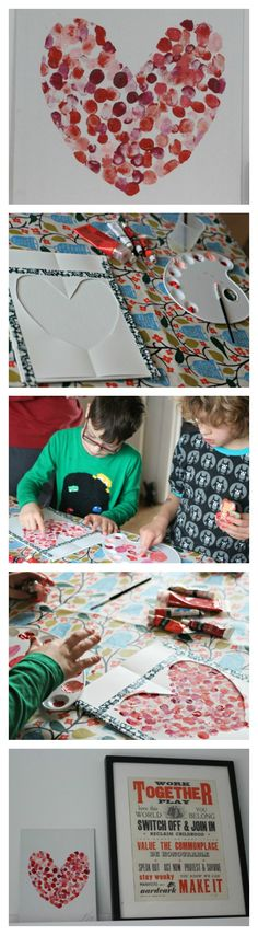 Family fingerprint heart art canvas - Mum In The Madhouse. The perfect family collaborative art piece for valentines