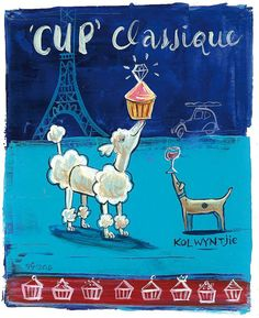 Haute kolwyntjies & koppiekoek-kokette | SARIE I write about cupcake couture. Illustration by Frans Groenewald Africa Art, Out Of Africa, Cupcake Couture, South African Artists, Classic Paintings, Wall Ideas, Cupcakes, Writing, Humor
