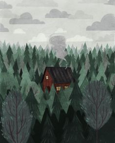 illustration by Taryn Knight Art Inspo, Kunst Inspo, Inspiration Art, Art And Illustration, Illustrations, Cottage In The Woods, Art Design, Design Homes, Oeuvre D'art