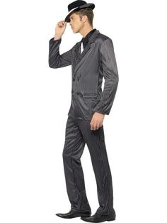 Black and White Gangster Mens Costume Gangster Outfit, Party Accessories, Black Button, Adult Costumes, Charleston, Classic Style, Black And White, Dark Grey, Trousers