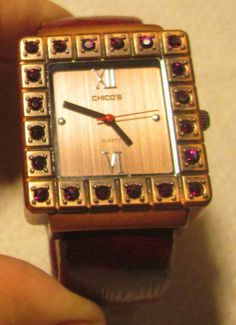 CHICOS RED CRYSTAL STONES, BRONZE BANGLE BRACELET WOMEN'S WATCH #Chicos #Fashion