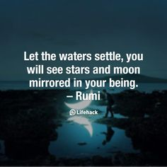 Let the waters settle, you will see stars and moon mirrored in your being. – Rumi